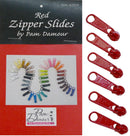 6 Large Tab Zipper Slides-Red ZIP-R