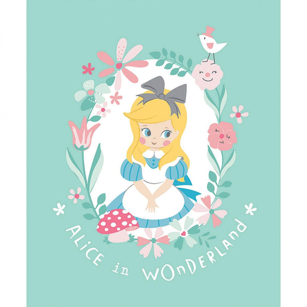 "Alice in Wonderland 2 Collection-35"" Panel Turquoise 85020206P-01"
