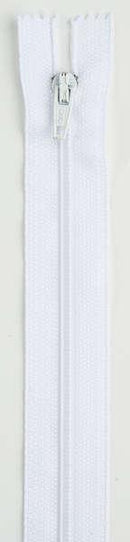 All-Purpose Polyester Coil Zipper 9in White