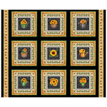 Always Face Sunshine-Sunflower Picture Patches 36' Panel Black 1649-27843-J