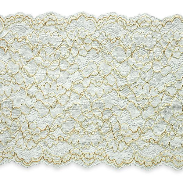 "April 7"" Stretchable Polyester Chantilly Lace Trim IR7082IV - Ivory"