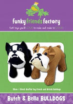 Butch & Bella Bulldogs Pattern 13in  Stuffed Soft Toy - FF3876