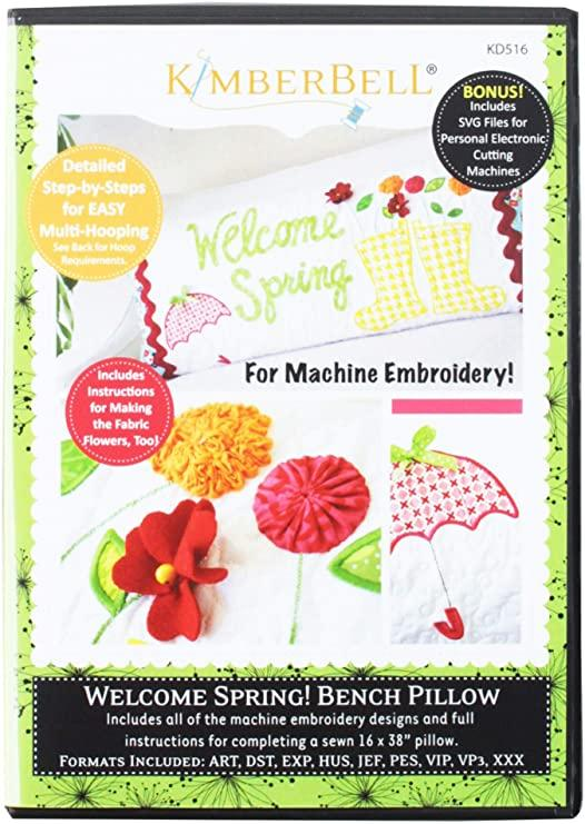 CD Welcome Spring Bench Pillow (Machine Embroidery) KD516