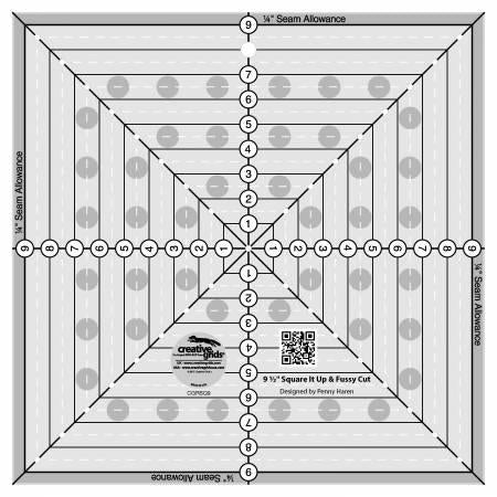 Creative Grids 9-1/2in Square It Up or Fussy Cut Square Quilt Ruler - CGRSQ9
