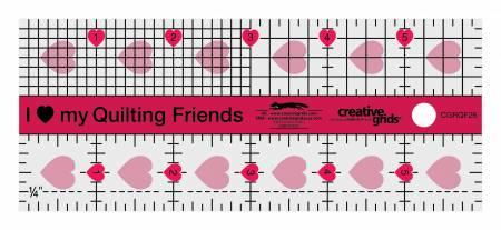 Creative Grids I Love My Quilt Friends Mini Quilt Ruler 2-1/2in x 6in - CGRQF26