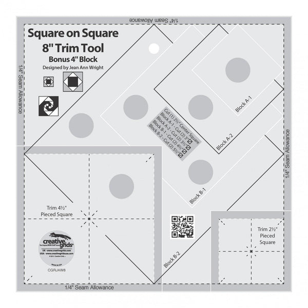 Creative Grids Square on Square Trim Tool - 4in or 8in Finished - CGRJAW8
