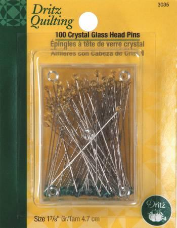 Crystal Glasshead Pins 1-7/8in 100ct - 3035
