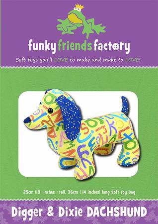 Digger & Dixie DachshundPattern 13in  Stuffed Soft Toy