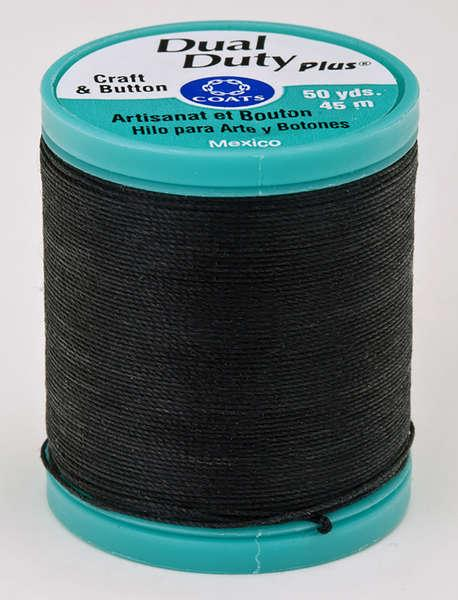 Dual Duty Plus Button and Carpet Thread 50yds 10wt  Black - S9200900