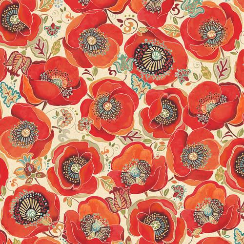 Large Poppies 9969-41 ivory