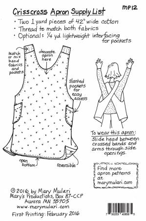 Crisscross Apron Pattern MP12  Mary Mulari
