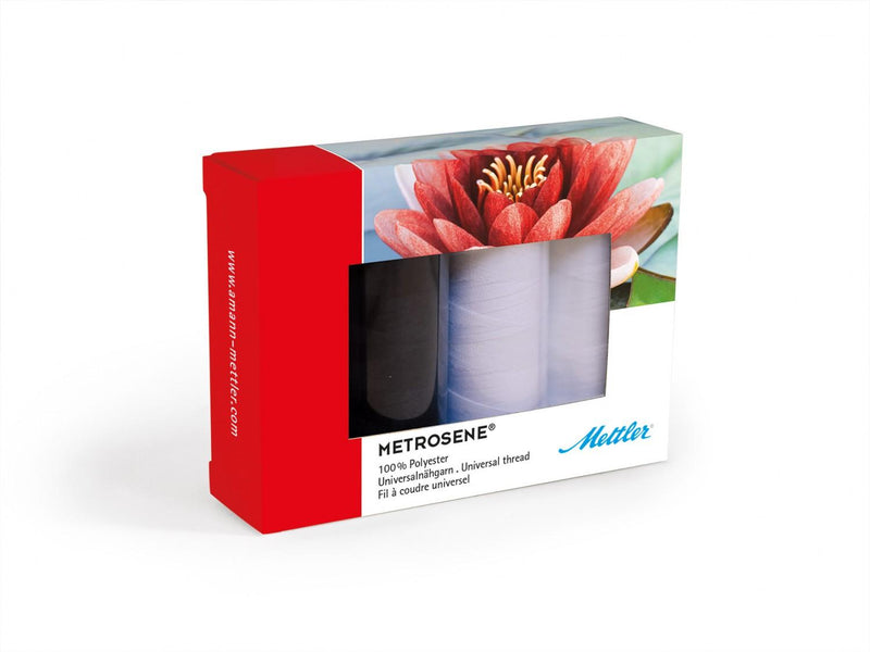 Metrosene Thread Set 4 Spools Black and White ME49161BW-KIT