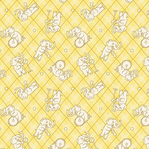 Nana Mae IV-Tossed Elephants O n Plaid Yellow 9294-44