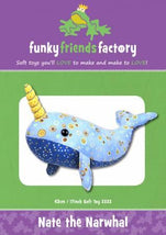 Nate the Narwhal  Pattern - 17in Stuffed Soft Toy - FF2632