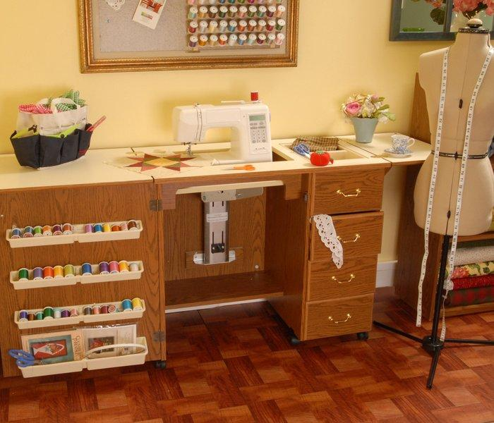 Norma Jean Oak Arrow Sewing Cabinet