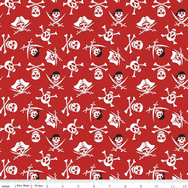 Pirate Tales-Skulls Red C9683-RED