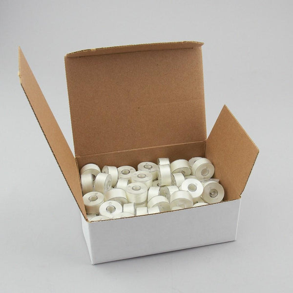 Pre Wound Fil-Tec Class 15 Full Box (80ct) - Poly White - Bobbins