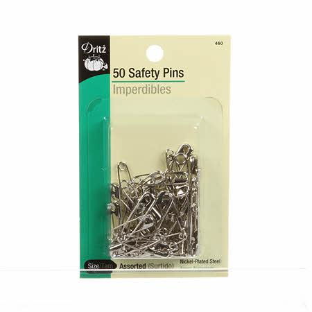 Safety Pin Nickel Assorted Size 50ct