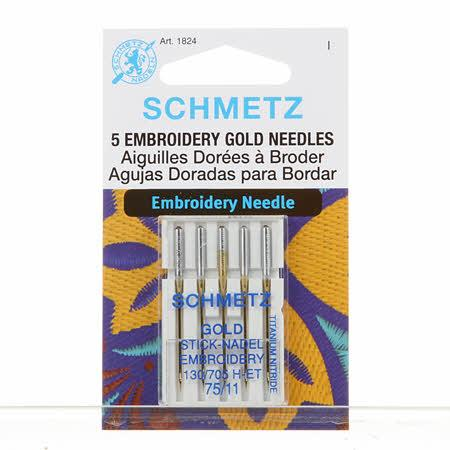 Schmetz Gold Titanium Embroidery Machine Needle Size 11/75 5ct