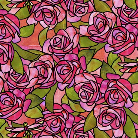 Stained Glass Garden-Roses Pink 1649-28267-P