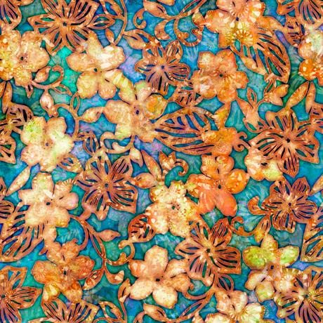 Tropicalia-Small Floral Turquoise 2600-28190-Q