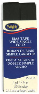 Wide Single Fold Bias Tape Black- Wrights 117202031