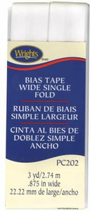 Wide Single Fold Bias Tape White-  117202030