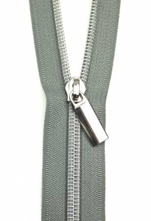 Zippers By The Yard Grey Tape3 yds #5 nylon coil & 9 pulls nickel
