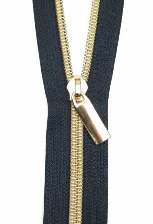 Zippers By The Yard Navy Tape3 yds #5 nylon coil & 9 gold pulls