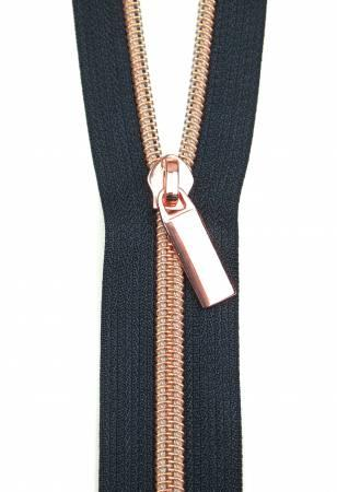 Zippers By The Yard Navy Tape3 yds #5 nylon coil & 9 rose gold
