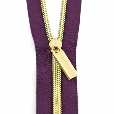 Zippers By The Yard Purpl Tape Gold Teeth #5 3yd pk
