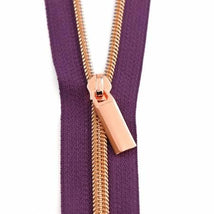 Zippers By The Yard Purpl Tape Rose Gold Teeth #5 3yd pk