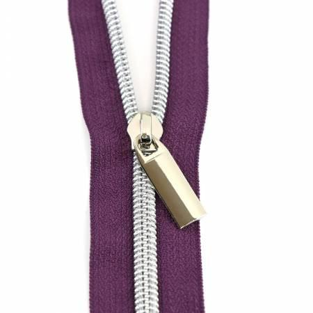 Zippers By The Yard Purple Tape Nickel Teeth #5 3yd pk