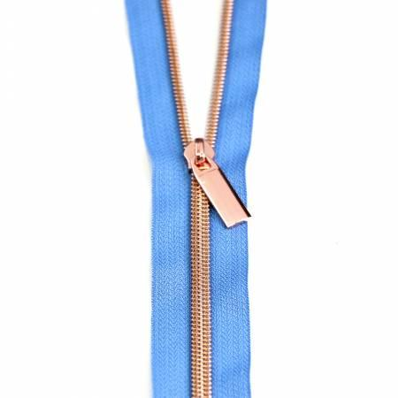 Zippers by The Yard-Blue Jean/Rose Gold ZBY5C53