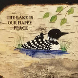 "8x10 Color Loon ""The Lake is Our Happy Place"" on Real Birch Bark in Birch Frame"