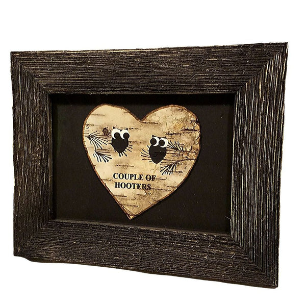 "B&W OWL 5X7 BARNWOOD ""COUPLE OF HOOTERS"""