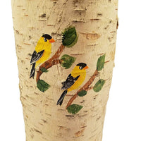 YELLOW FINCH PAINTED ON REAL BIRCH TREE CANDLE 10""