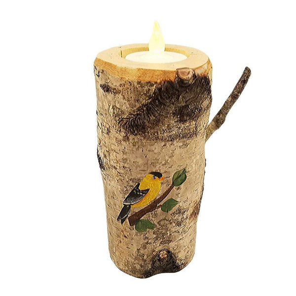 YELLOW FINCH PAINTED ON REAL BIRCH TREE CANDLE 6""