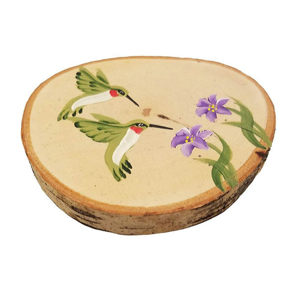 Hummingbird Birch Tree Slice Coaster (Single)