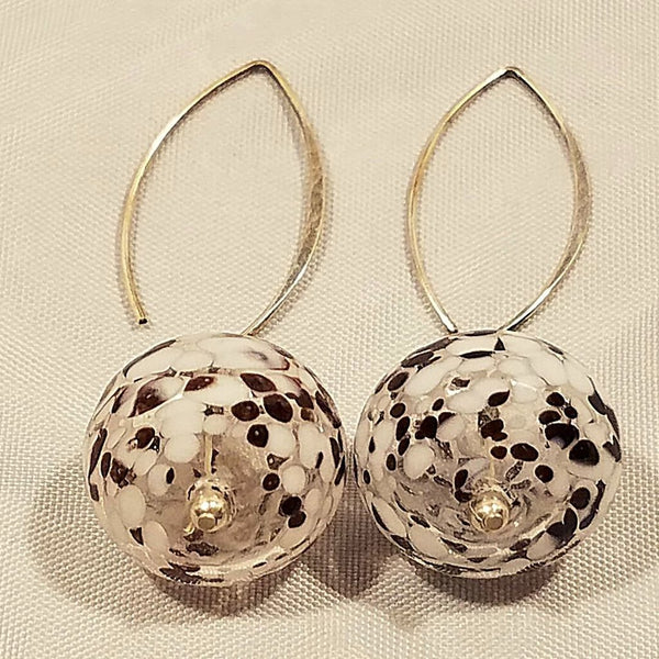 Glass Ball Earrings White And Brown (E1260)