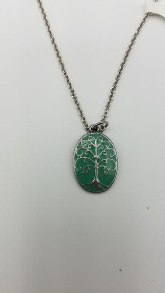 GREEN ENAMEL TREE OF LIFE NECKLACE