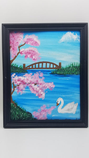 Swan Cherry Blossoms 8x10 Original Canvas Painting
