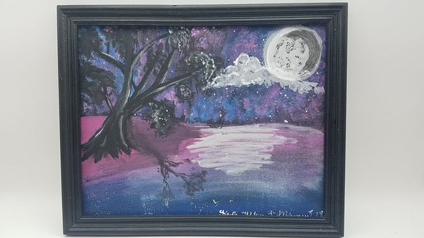 Purple Moon Background 8x10 Original Canvas Board Painting