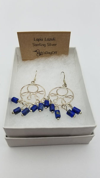 Chandelier Lapis Stainless Steel Ear Rings