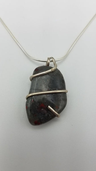 "STELING SILVER WRAPPED BLOODSTONE PENDENT 18"" NECKLACE"