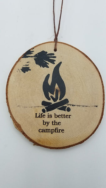 Medium Life Is Better By The Campfire Birch Ornament
