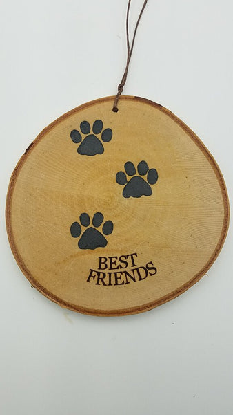 Large Best Freinds Paw Print Birch Ornament