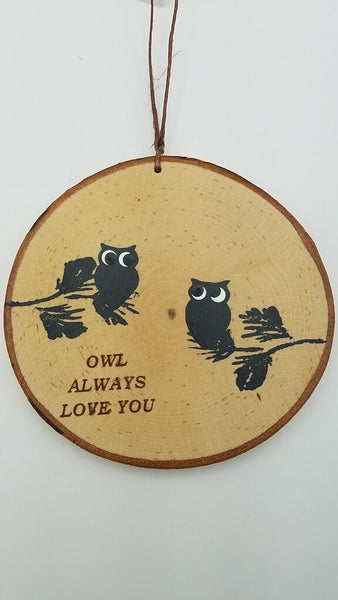 Large Owlways Love You Birch Ornament