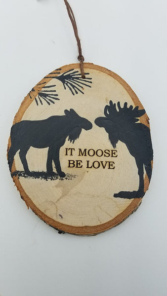 Large It Moose Be Love Birch Ornament