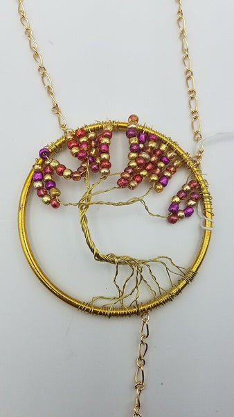 "3"" Pink and Gold Tree of Life Suncatcher"